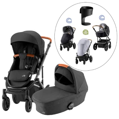 Britax Römer Kinderwagen SMILE III – Essential Bundle Exklusiv Space Black, Brown Handle 2021 - Image de grande taille