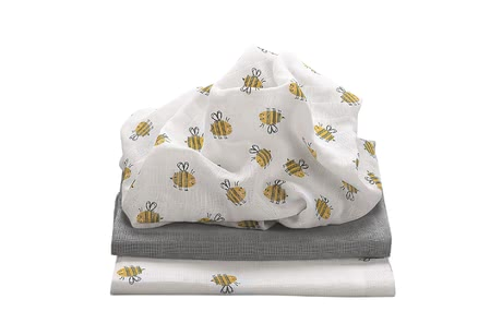 Odenwälder Muslin Nappies, pack of 3 honey bee - Image de grande taille